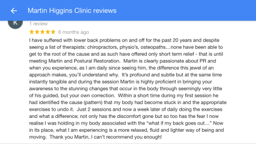 Back Pain Treatment at Sports Injury Clinic Soho Marylebone Customer Review