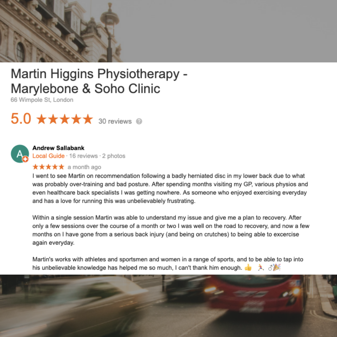 Google Review The Best Physio for back pain clinic Marylebone London UK