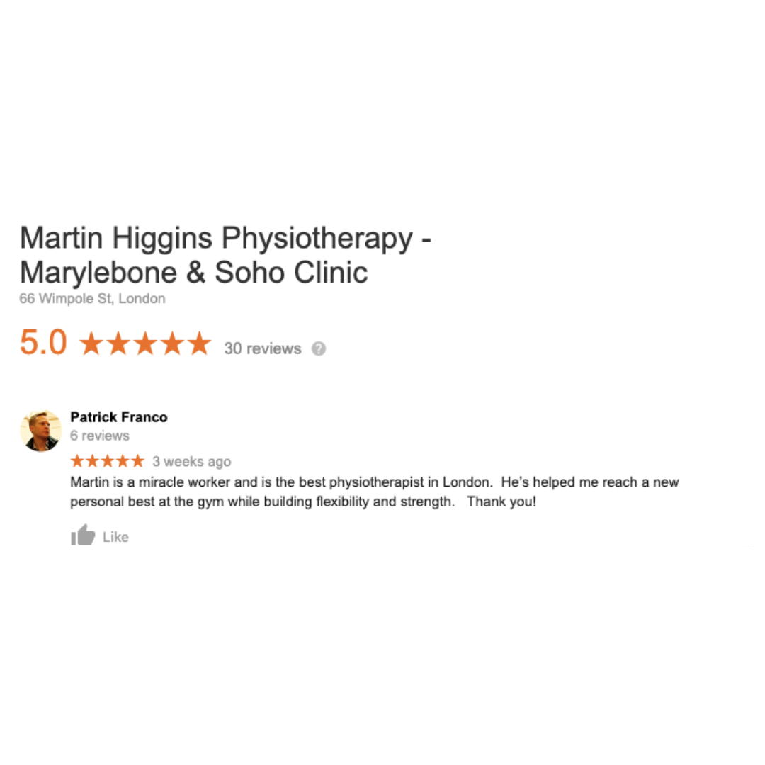 Google Review The Best Physio London Marylebone Martin Higgins Physio