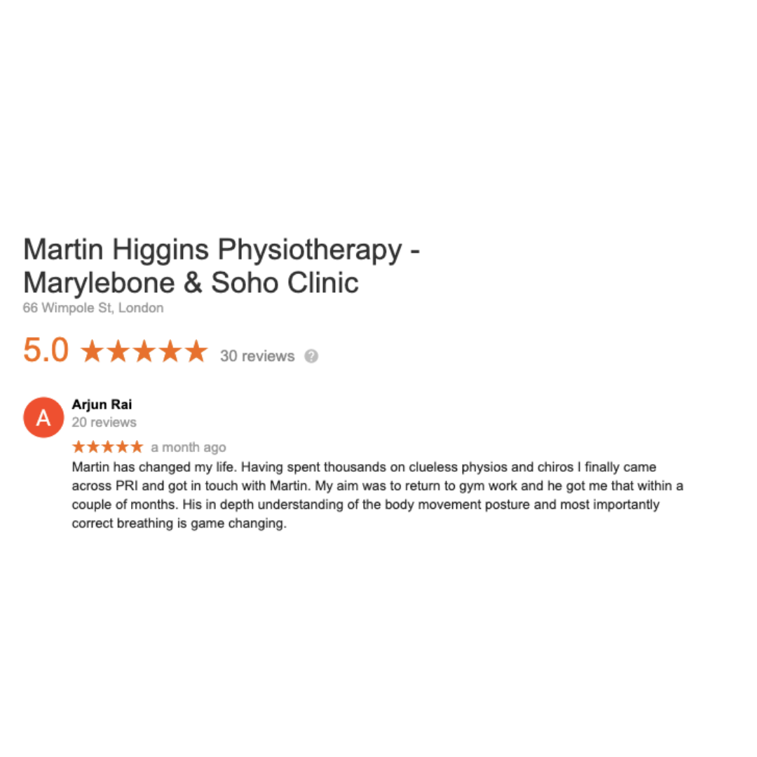 Google Review The Best Physio London