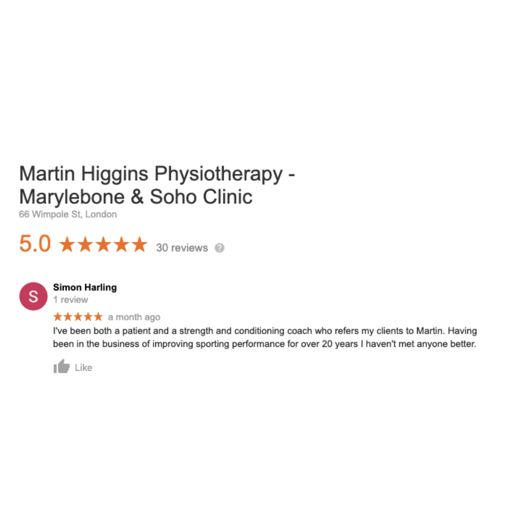 Google Review The Best Physiotherapist London Martin Higgins Physio Clinic