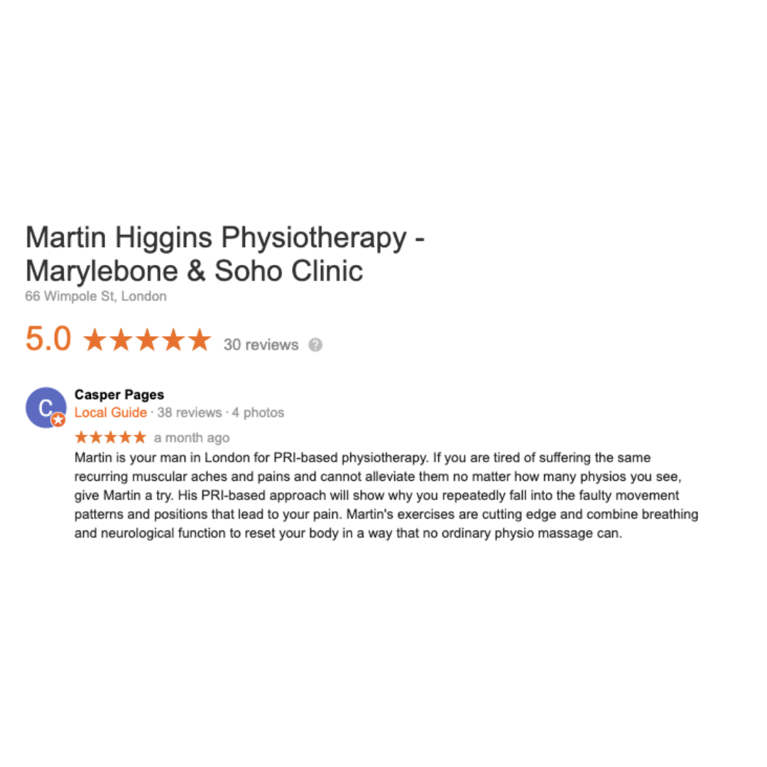 Google Review The Best Postural Restoration Institute PRI Physiotherapist London