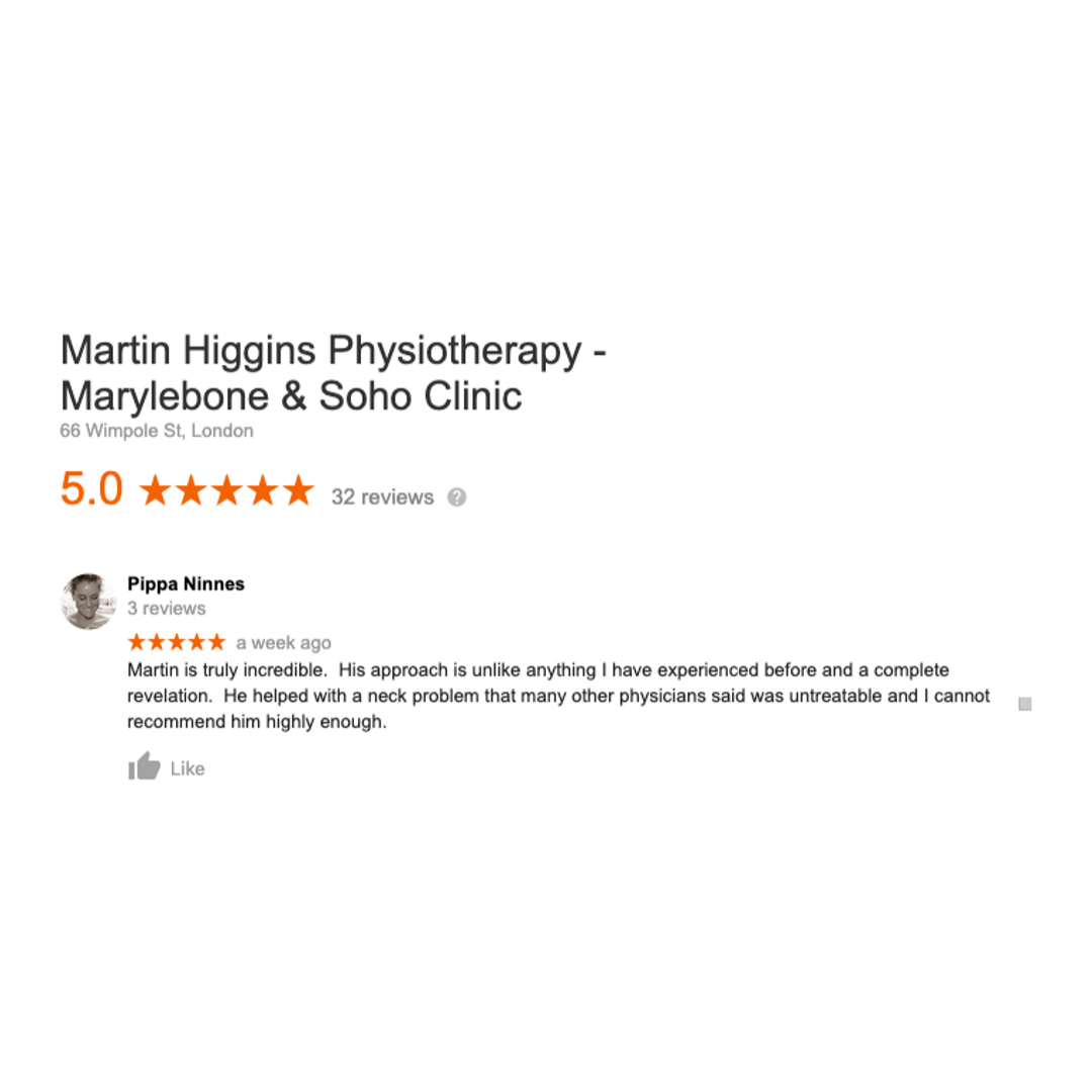 Google 5* Review my approach martin higgins physio clinic