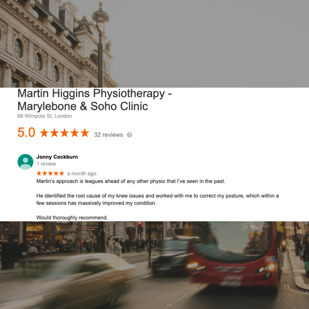 Physio London Google 5* Review Martin Higgins Physio Clinic Mobile