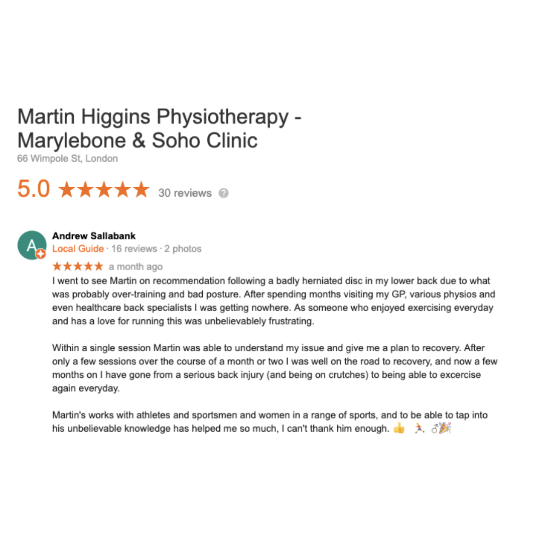 Google Review The Best Physio For Back Pain Clinic Marylebone London
