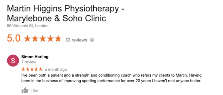 Google_Review_The_Best_Physiotherapist_London_strength_conditioning
